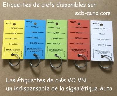 Etiquettes de clés vo et signalétique auto