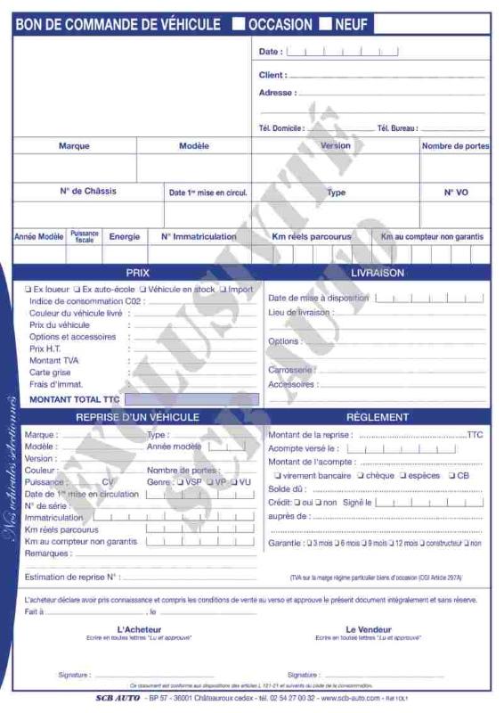 Certificat de vente Vo Vn Bon de commande Vo indispensable